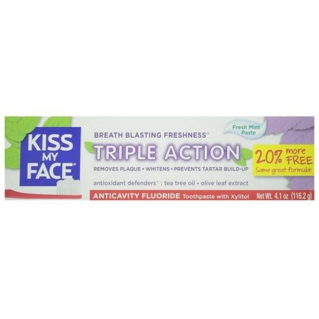 Triple Action Fresh Mint Anticavity Fluoride Toothpaste  (4.1 oz., Kiss My Face)
