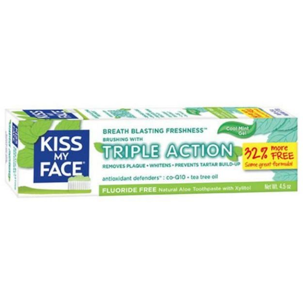 Cool Mint Triple Action Fluoride Free Toothpaste  (4.5 oz., Kiss My Face)