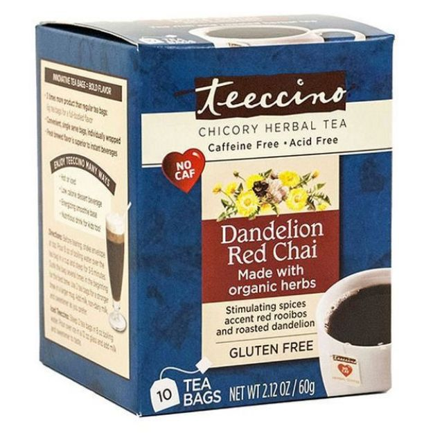 Dandelion Red Chai Chicory Herbal Tea (10 bags, Teeccino)